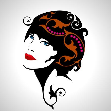 Silueta hermosa de la mujer Ilustración de vector