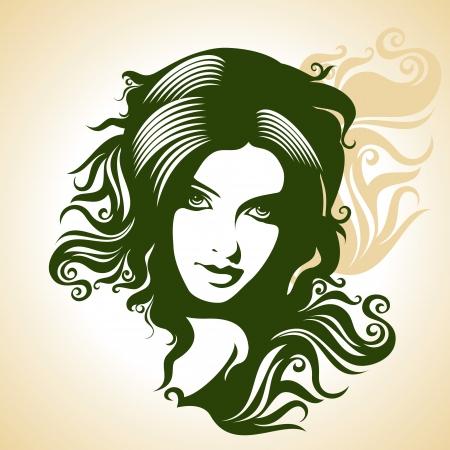 брюнет: Красивый силуэт женщины Иллюстрация