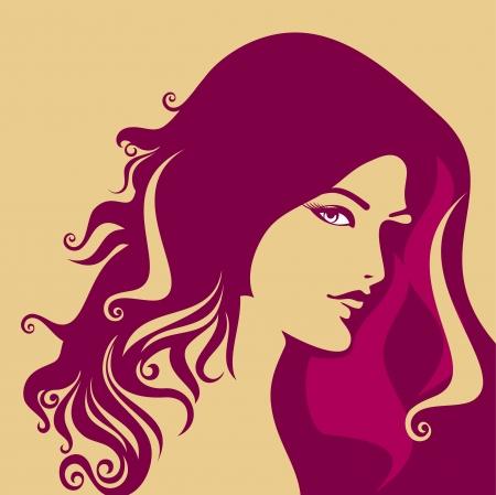 rostro mujer perfil: Silueta hermosa de la mujer