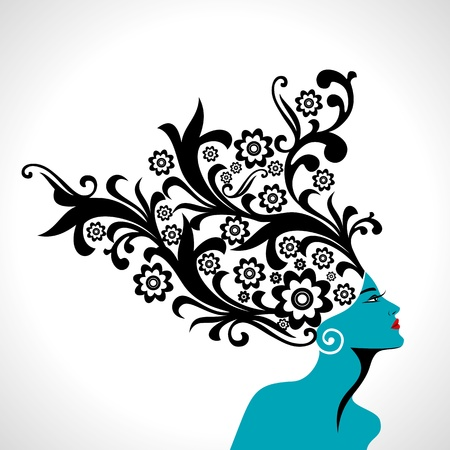 coiffure: Beautiful woman silhouette