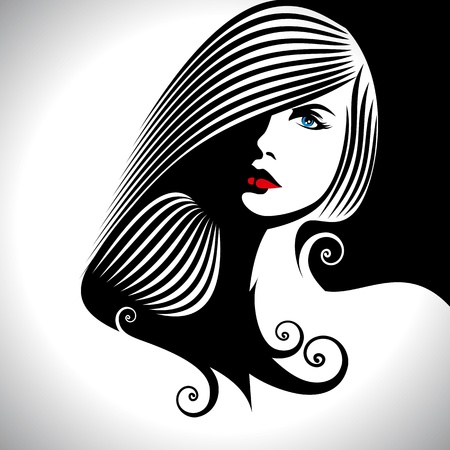 beauty salon face: Beautiful woman silhouette