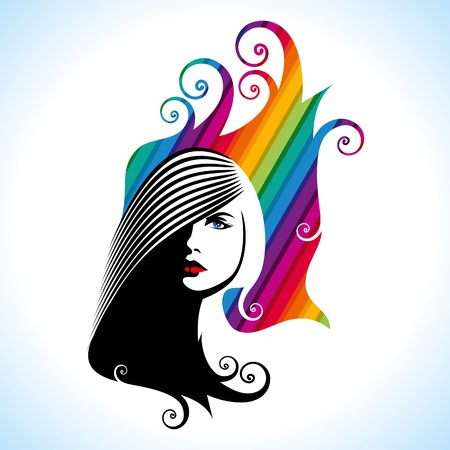 facial hair: Beautiful woman silhouette