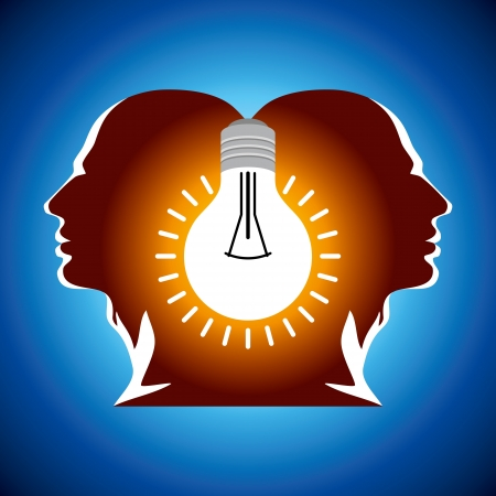 Human heads with Bulb symbol Business concepts Stock Vector - 18177654
