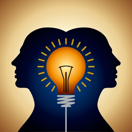 Human heads with Bulb symbol Business concepts Stock Vector - 18177653
