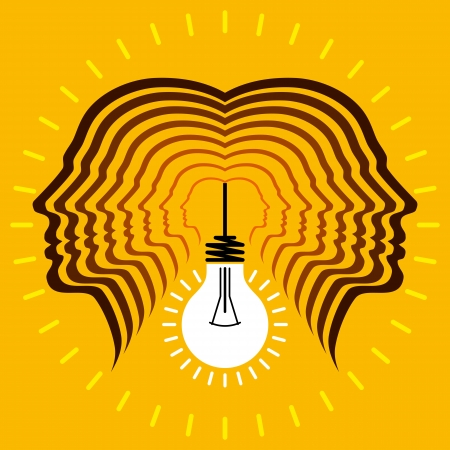 connected idea: Human heads with Bulb symbol Business concepts