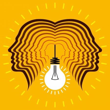 ideas brillantes: Las cabezas humanas con los conceptos de bulbo negocios s�mbolo