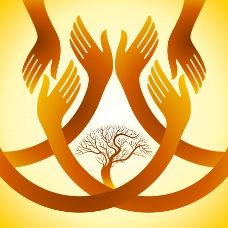 group  join: creative group of hands with save tree
