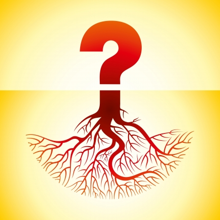 speech marks: question mark with roots Illustration
