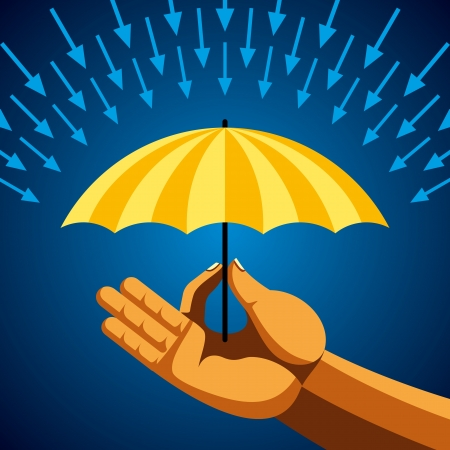 Hand with yellow umbrella Vector