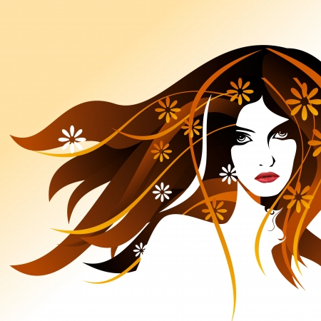 head and shoulders: Beautiful woman silhouette