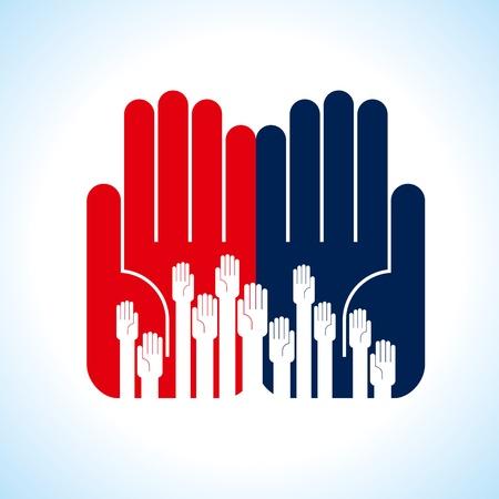 volunteers: creative group of hands