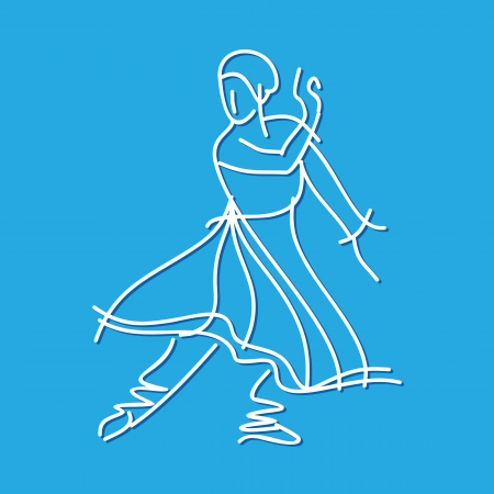 theatrical dance: Sketch of dancing ballerina Illustration