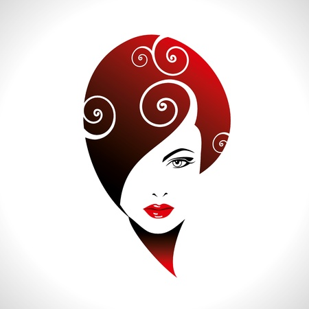 coiffure: Beautiful woman silhouette
