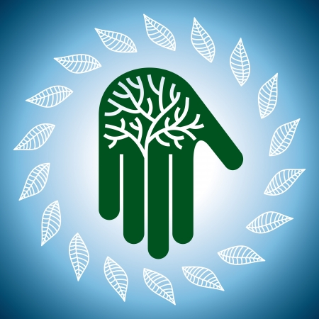 Eco friendly tree in hands illustration Stock Vector - 18210664
