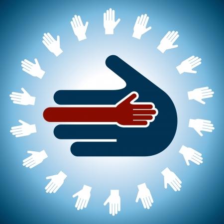 menselijke hand eenheid begrip Vector Illustratie