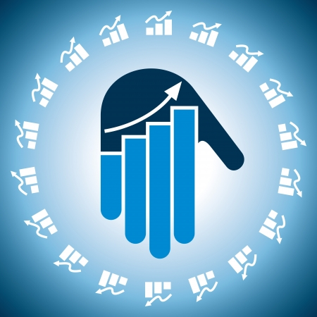 Business chart in hand icon Vector