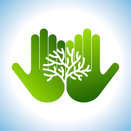 save the environment: Eco friendly tree in hands illustration Illustration