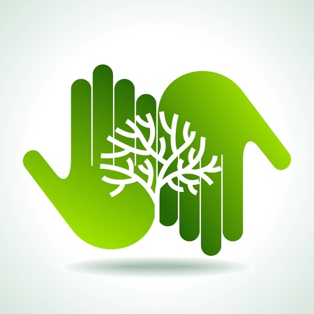 Eco friendly tree in hands illustration Stock Vector - 18210588