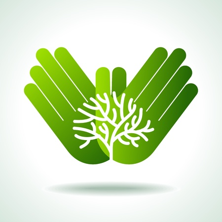 green thumb: Eco friendly tree in hands illustration Illustration