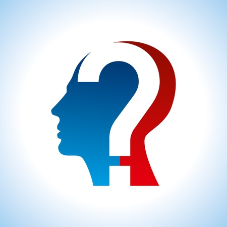 human head with question mark symbol Vector