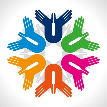 participate: concept of unity Illustration