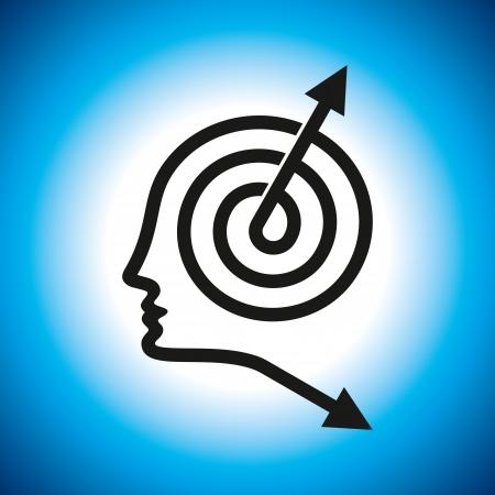 Los pensamientos y las opciones de ilustración de la cabeza con las flechas