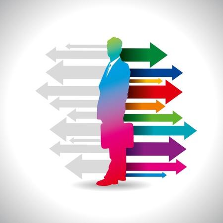 preferencia: Flecha global de negocios con el empresario Vectores
