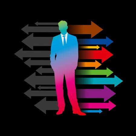 Global business arrow with businessman Stock Vector - 18210600