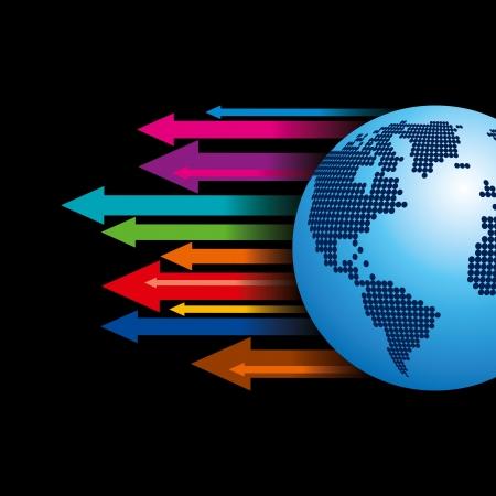 directive: Global business arrow  illustration