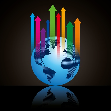 calculations: Global business arrow  illustration