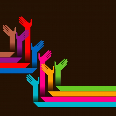 participate: hands of different colors