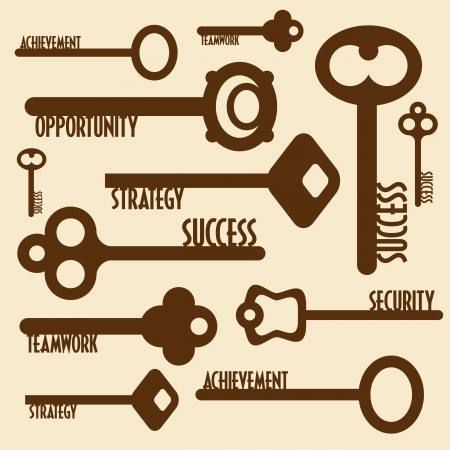 many keys with words, business concept Vector