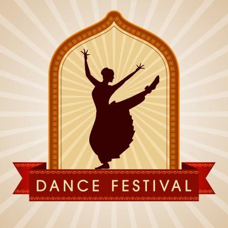 traditional dance: illustrazione di ballerina classica indiana