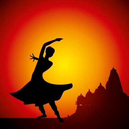 classical dancer: illustration of Indian classical dancer Illustration