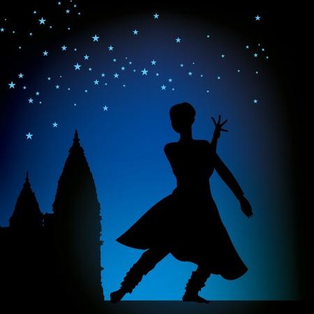 classical dance: illustration of Indian classical dancer Illustration
