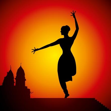 sari: ilustraci�n de la bailarina cl�sica de la India