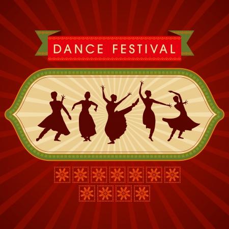 classic dance: ilustraci�n de la bailarina cl�sica de la India