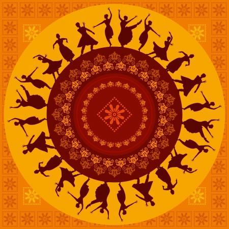 indianin: ilustracja klasycznego indyjskiego tancerza Ilustracja