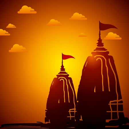 Indian temple architecture at sunset Vector