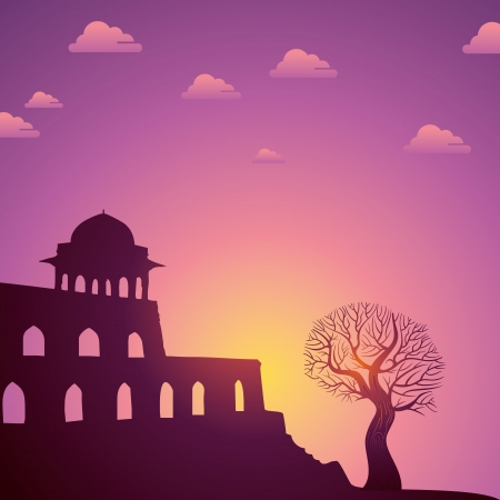 Indian monuments  on sunset Stock Vector - 18210698