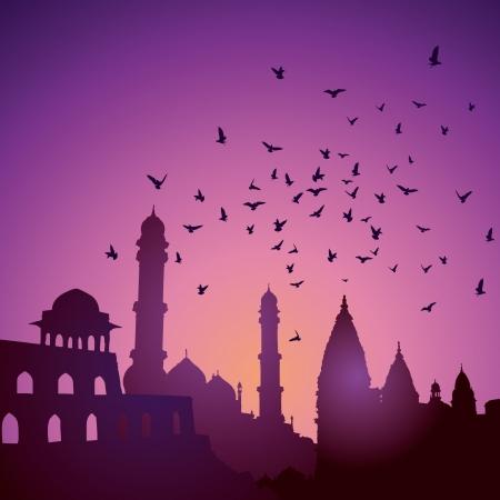 일몰에 인도 기념물