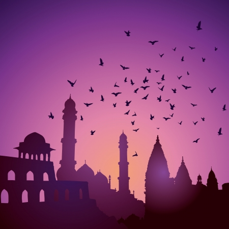 Indian monuments  on sunset Vector
