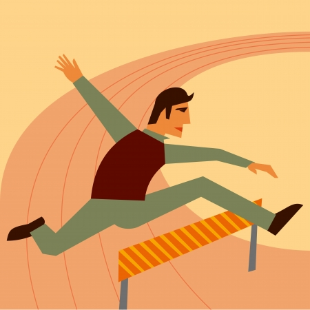 leap: Businessman jumping over hurdle