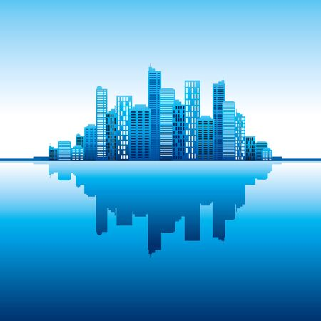 blue panorama city  vertical background Vector