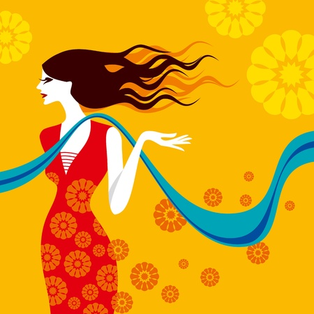 indian teenager: beautiful lady Illustration