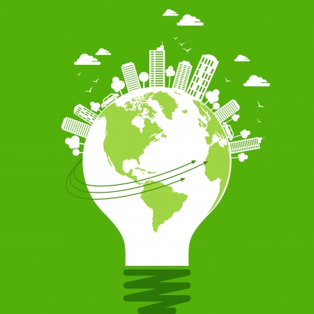 sustainable resources: ecology concept - save earth, energy Illustration