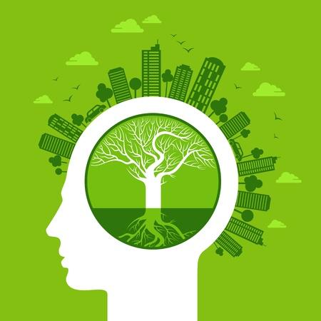 kassen: eco-vriendelijke concept Stock Illustratie