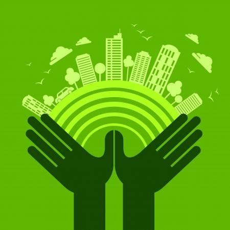 desarrollo sustentable: concepto eco mano amiga Vectores