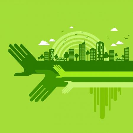 환경 친화적 인 손의 개념