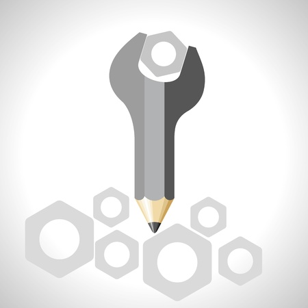 adjustable: spanner with pencil - education concept